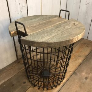wooden basket table