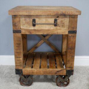 wooden cabinet on wheels