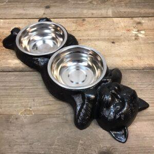 metal double cat bowl