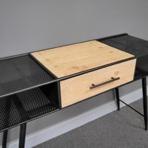 metal and wooden desk