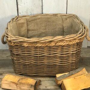 log basket with handles