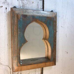 teal wooden mirror