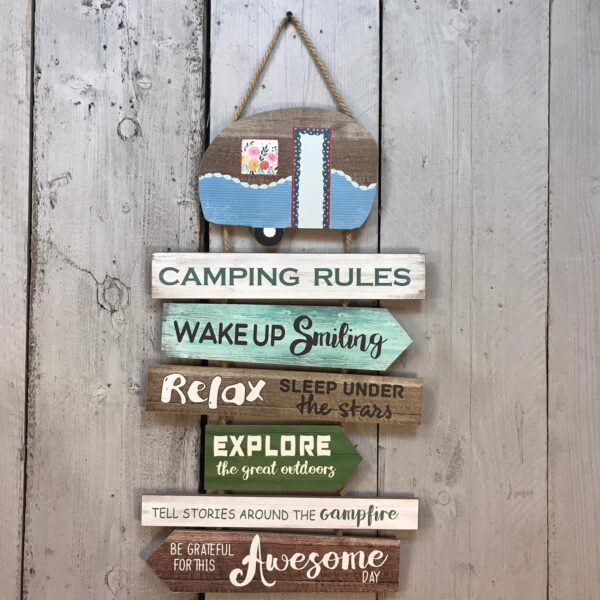 camping rules sign