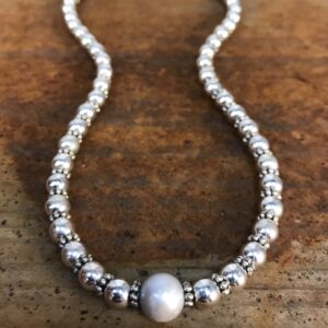 silver ball pearl necklace