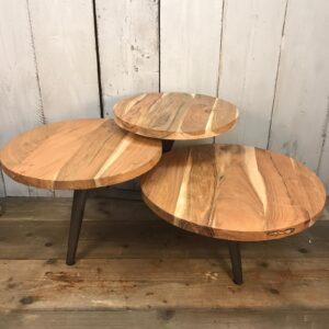 wood and metal multi layered coffee table