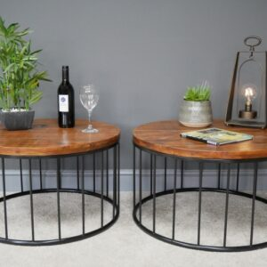 set of 2 round wooden tables