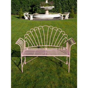 pink outdoor bench
