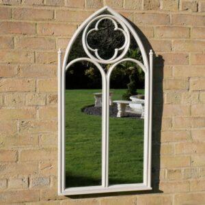 white garden mirror