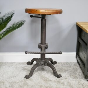stool with wooden seat