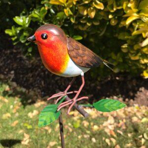 robin on a stake