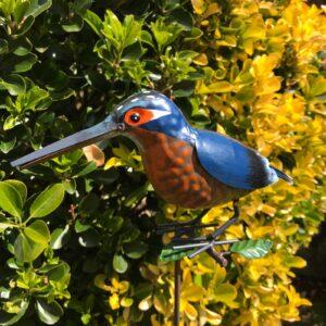 metal kingfisher garden ornament