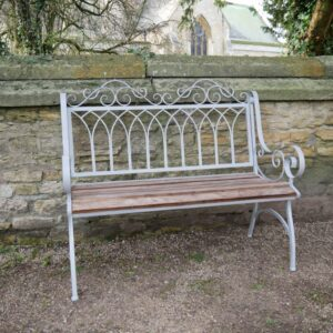 wooden and metal bench