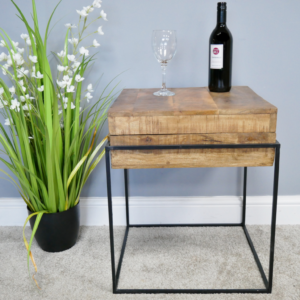 wooden storage side table